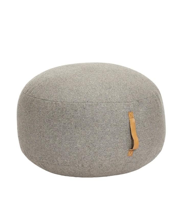 Pouf en laine/cuir gris clair