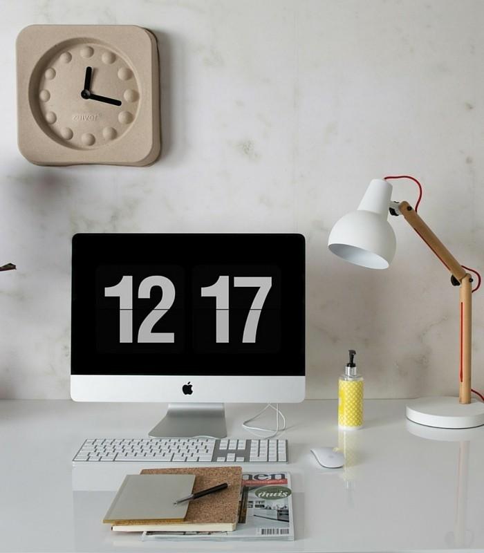 Horloge Pulp Time - Papier mâché recyclé/Alu