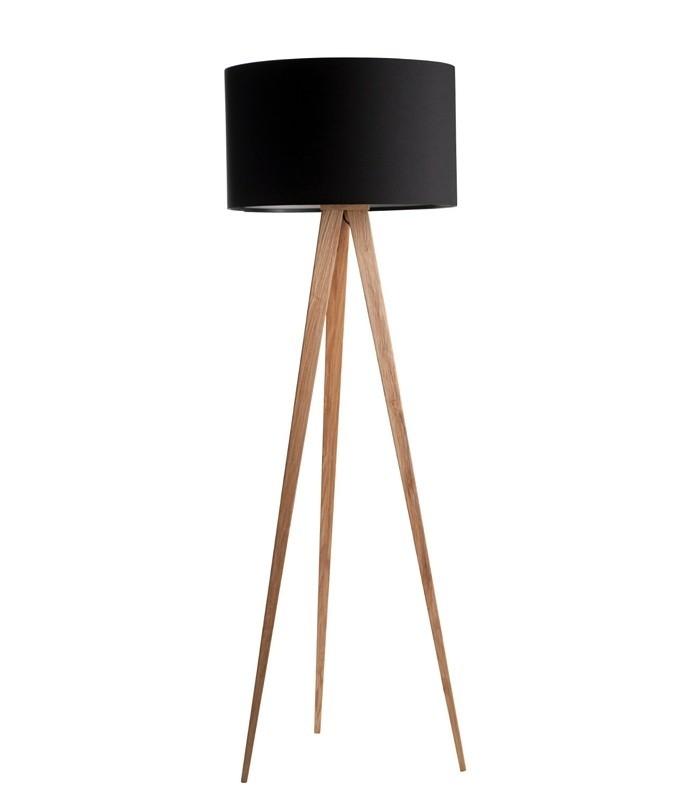 Lampadaire trépied bois - Noir