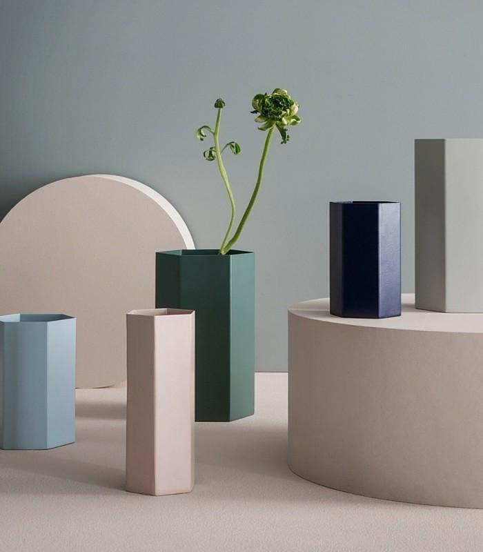 Vase/pot hexagonal - Bleu
