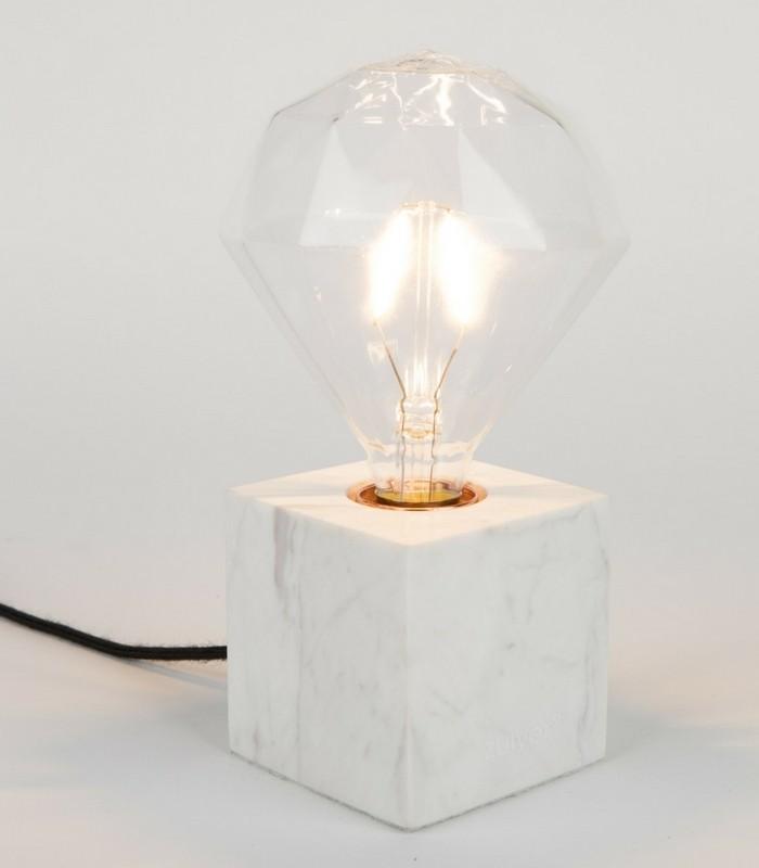 Lampe de table Cubic - Marbre blanc
