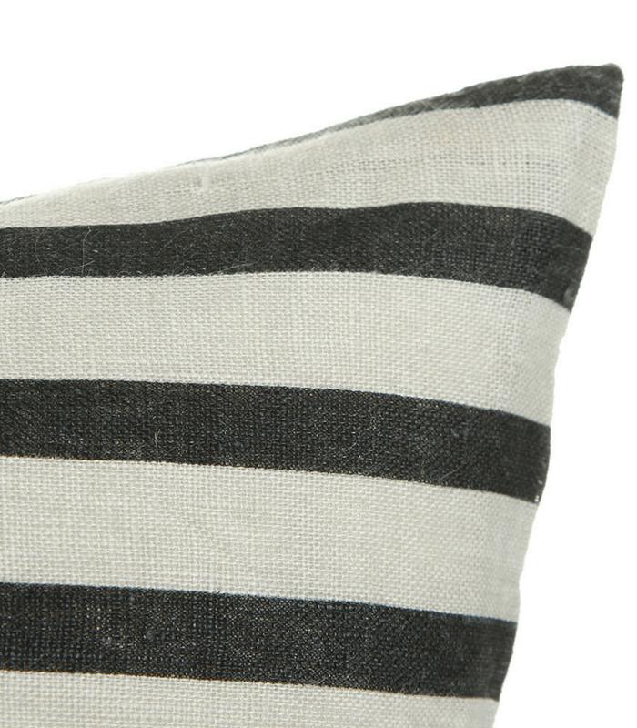 Coussin Stripes - Lin Noir/Gris