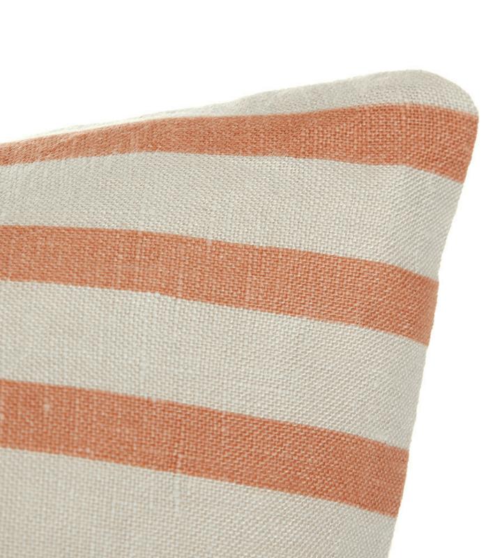 Coussin Stripes - Lin Orange/gris