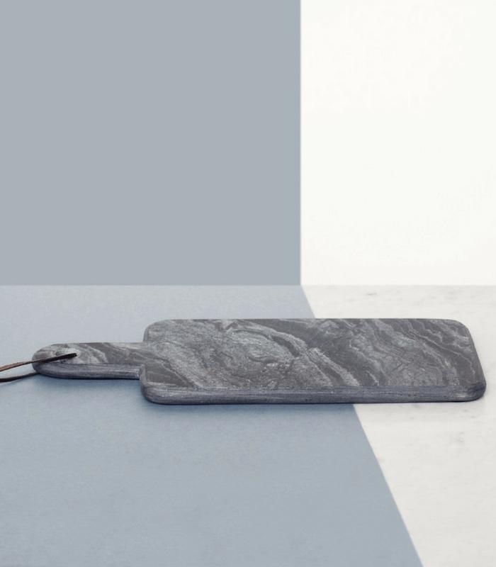 Planche à fromage - Marbre gris/Cuir