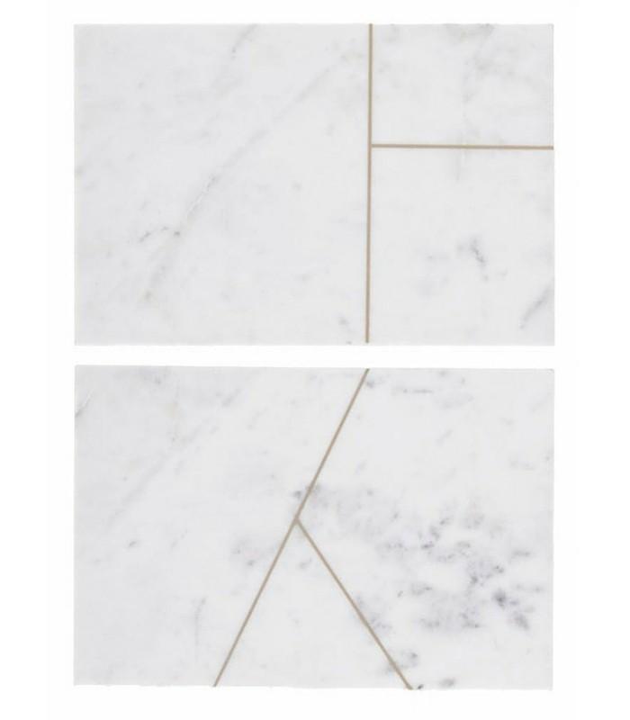 Set de 2 plateaux en marbre blanc
