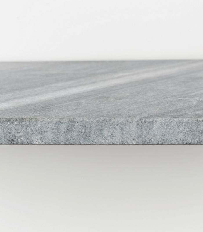 Etagère murale - Marbre gris/Cuir