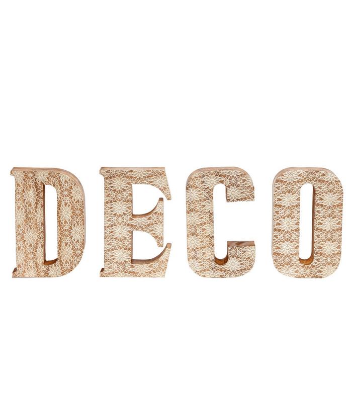 Set de 4 lettres DECO - Bois