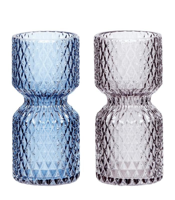 Set de 2 vases en verre - Bleu & Gris