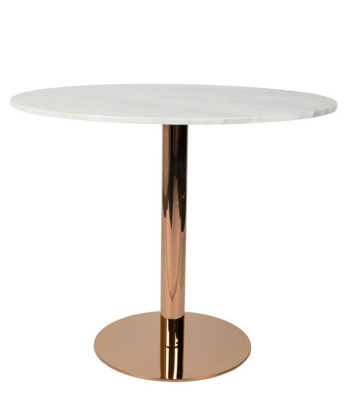 Table à manger ronde ø90 cm - Marbre/Cuivre