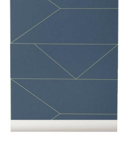 Papier-Peint Lines - Bleu