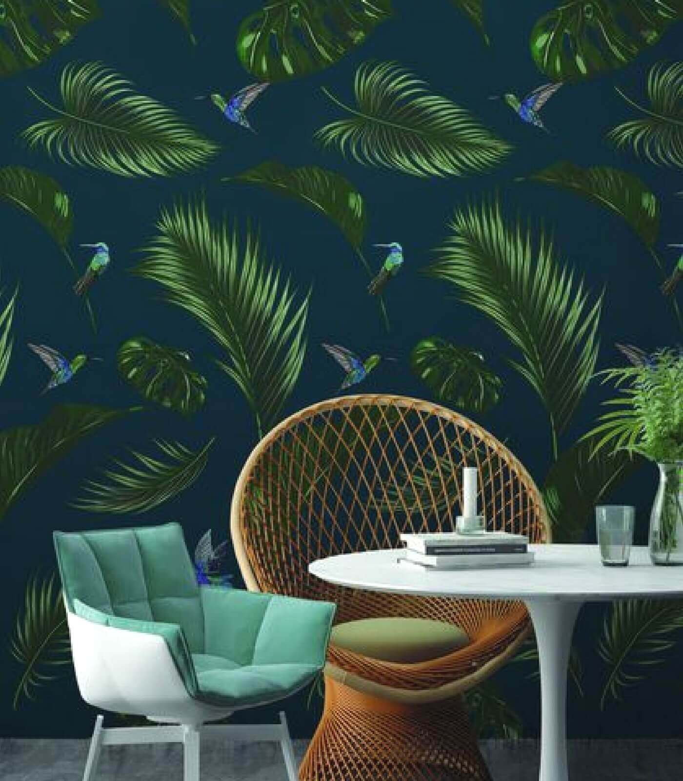 papier peint jungle bleu canard fonce 10 m x 53 cm pastel living. Black Bedroom Furniture Sets. Home Design Ideas